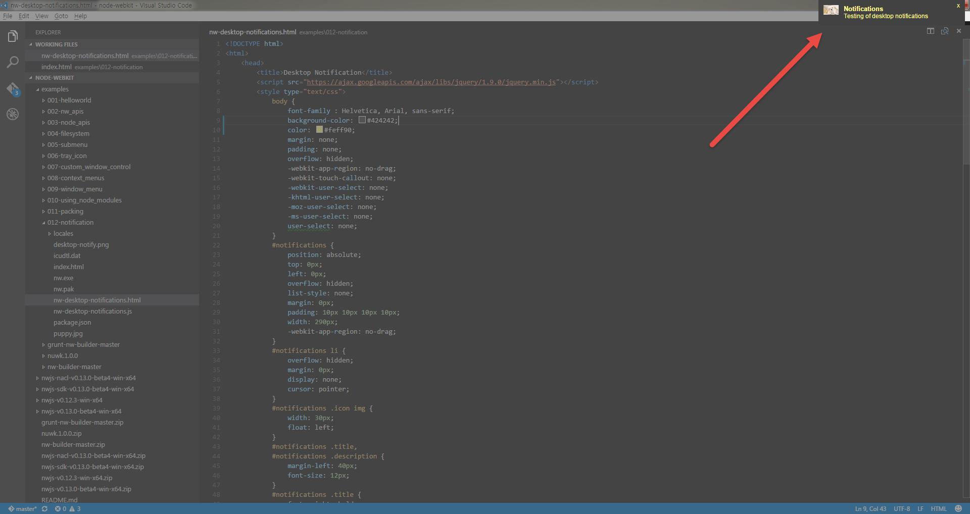 WebApp / Node Webkit] Example 12 - Notifications Example