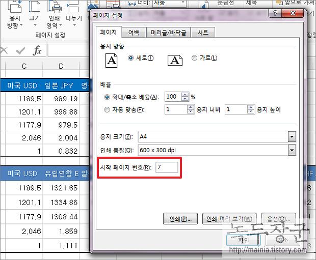 엑셀 Excel 첫 페이지부터 원하는 페이지 번호 매겨서 시작하기