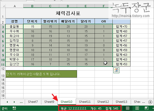 엑셀 Excel 상태표시줄로 합계, 개수, 평균, 최소값, 최대값 계산 없이 아는 방법