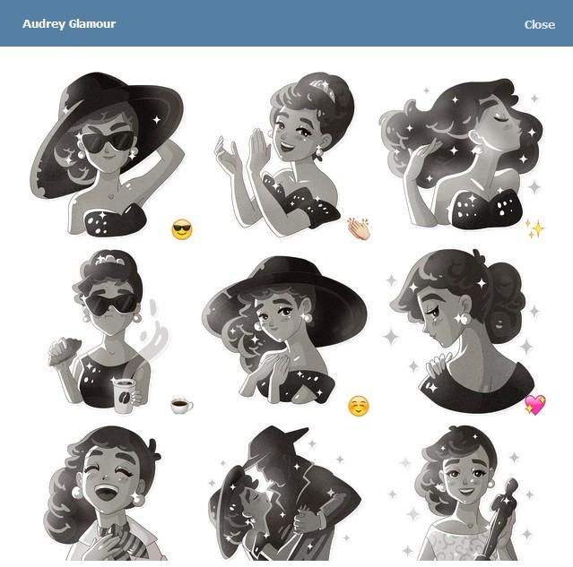 텔레그램 스티커 - Audrey Glamour