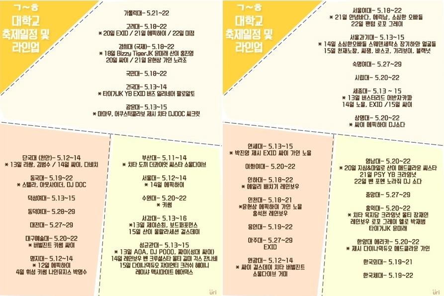2015년 대학축제 라인업 & 일정 총정리!!
