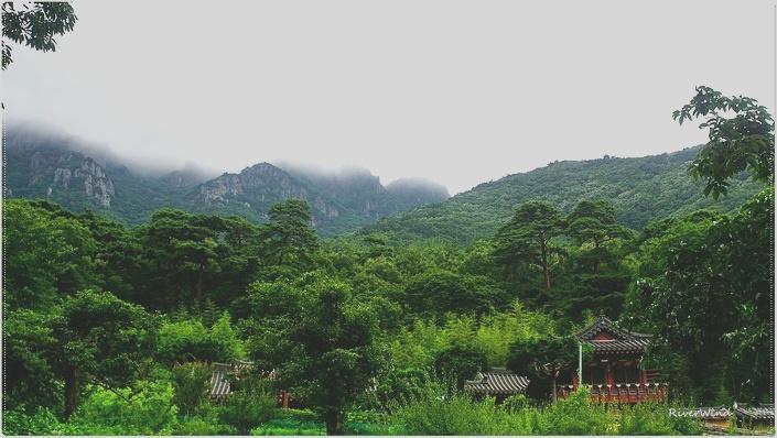 비로암에서 바라보는 산구름 덮인 영축산