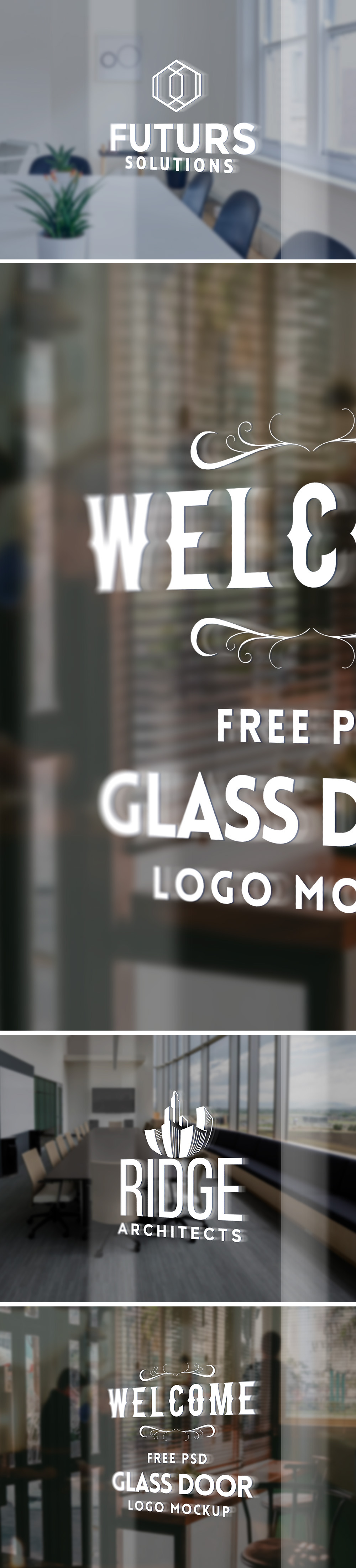 무료 유리문 로고 목업 PSD - Free Glass Door Logo Mockup PSD