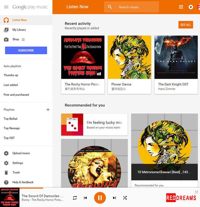 구글뮤직,음악클라우드,스트리밍음악,GOOGLE MUSIC, 구글라디오,구글클라우드,reddreams