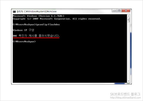 4단계 : 다음과 같은 문구가 뜨게 되고, 성공적으로 DNS 삭제가 완료 됩니다.