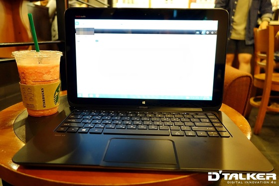 HP Split X2로 회사 메일에 접속한 모습