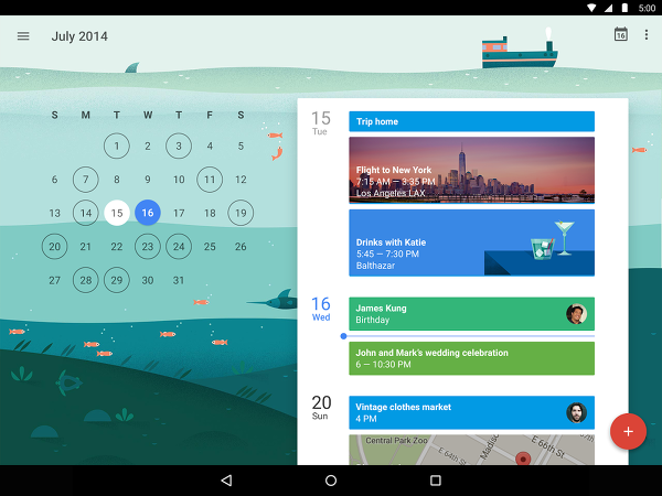 New Google Calendar with info. pic
