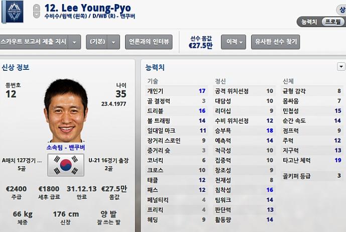 fm2013 풋볼매니저 노예 싸게 영입 이영표