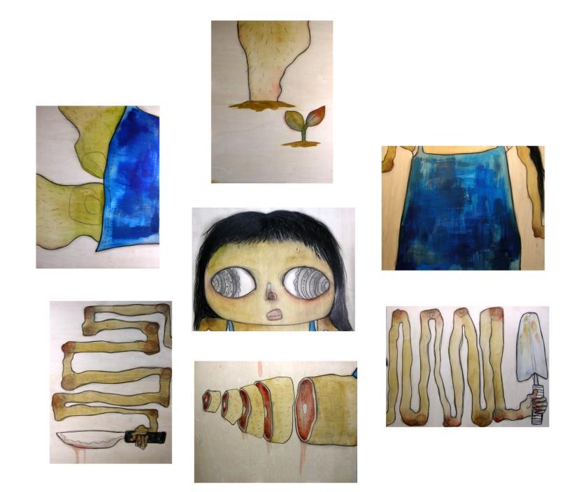 나도 내몸을 원하는 데로 _ conte and acrylic on cloth _ 2006