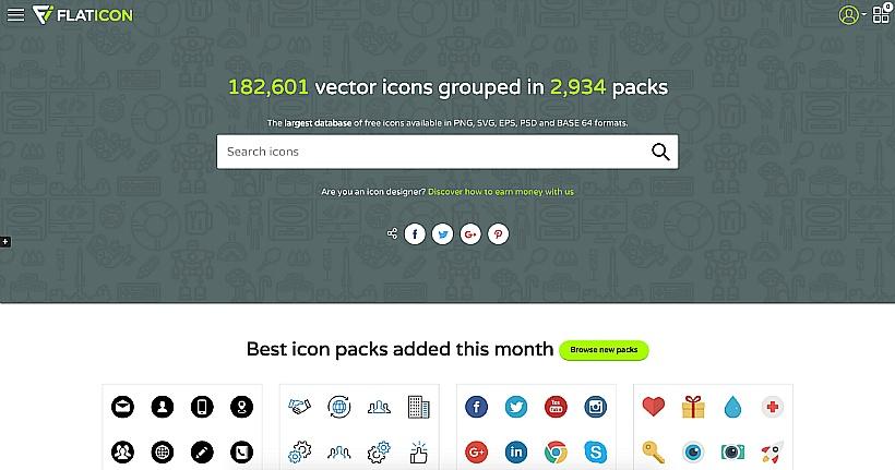 Flaticon, 무료 아이콘⋅픽토그램 사이트