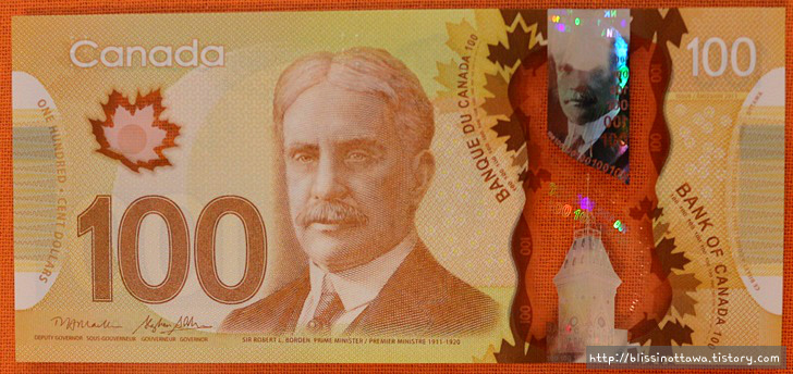 캐나다 화폐 소개 100달러 지폐