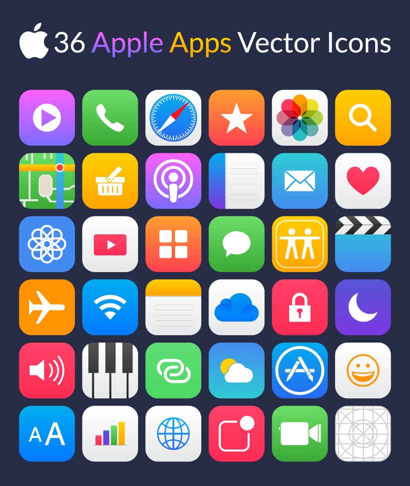 36 가지 애플 앱/어플리케이션 벡터 아이콘 - 36 Free Apple Apps Vector Icons
