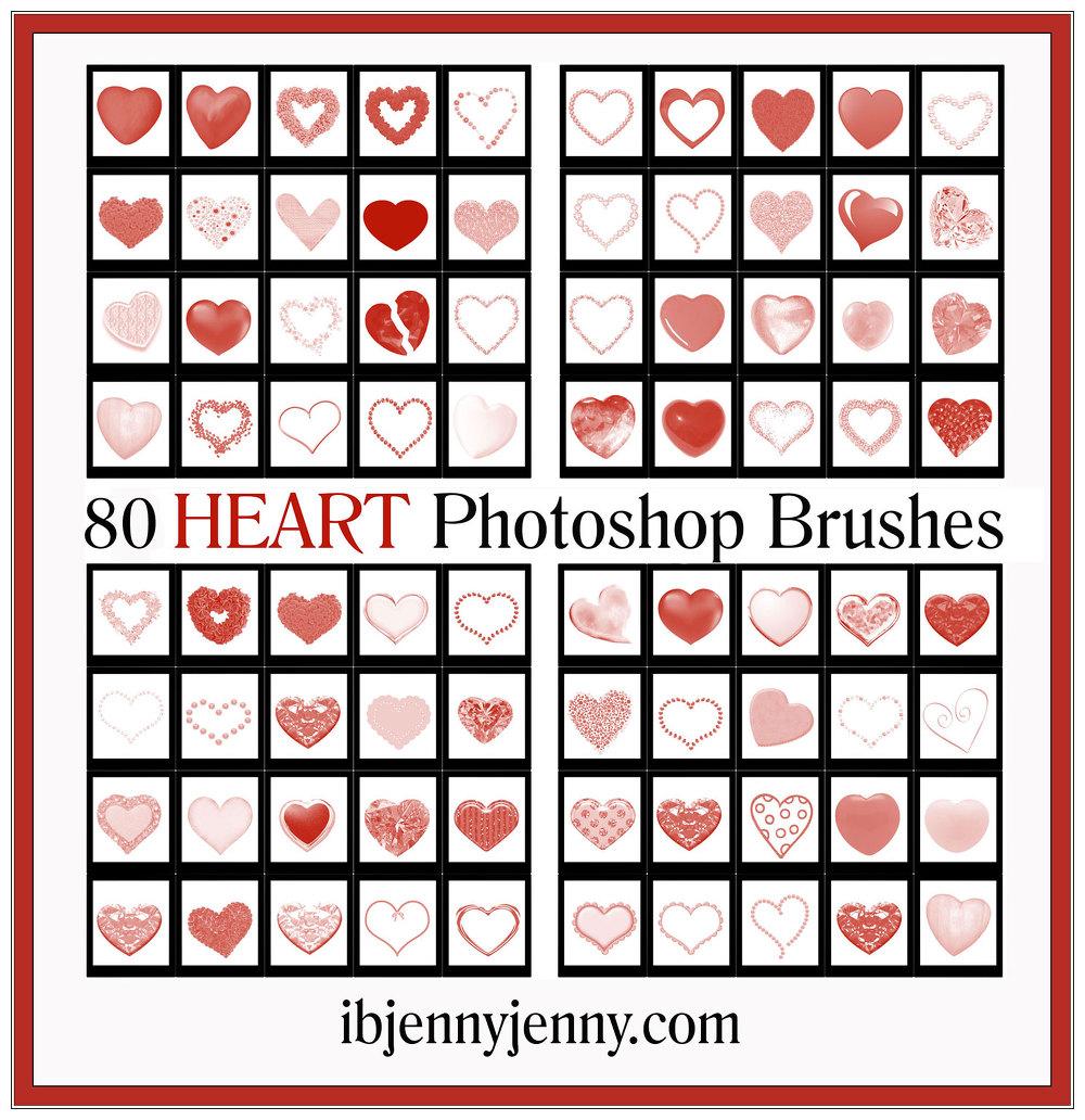 80 가지 무료 포토샵 하트 브러쉬 - 80 Free Heart Photoshop Brushes
