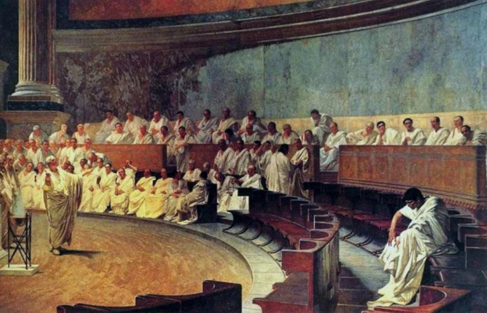 사진: 로마시대의 정치를 보여주는 키케로의 연설. 그리스 민주주주의와 로마의 권력분립은 남성 중심 문화 위에서만 진행되었다. [고대의 인간 누드화]