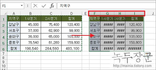 엑셀 Excel 셀 행 높이, 열 너비 그대로 유치한 채 복사하는 방법