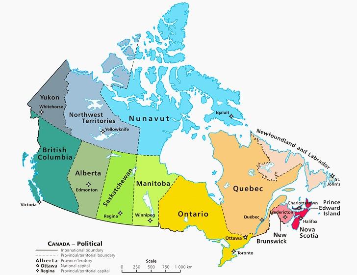 캐나다 지도 입니다.