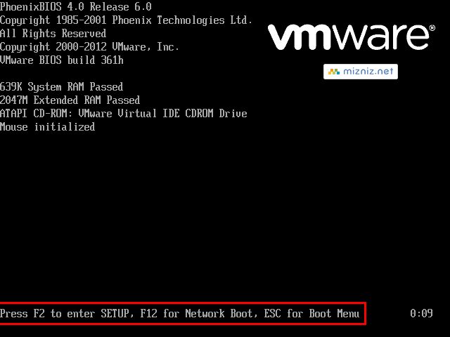 VMware Post Screen