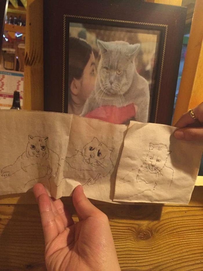 오봉자싸롱에서 그린 고양이 그림들