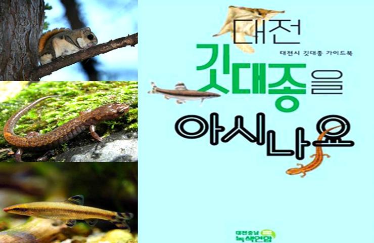 [출처1 : 대전시청 누리집] 하늘다람쥐, 이끼도롱뇽, 감돌고기 [출처2 : 대전충남녹색연합] 대전시 깃대종 가이드북