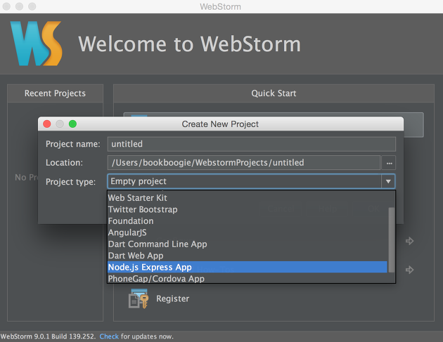 WebStorm Create New Project
