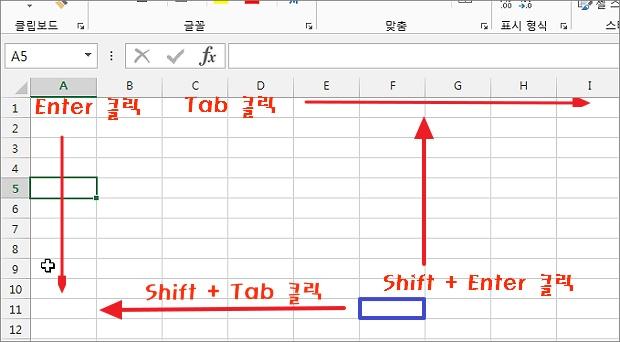 엑셀 Excel Enter(엔터키) 셀 이동 방향 반대로 설정하는 방법