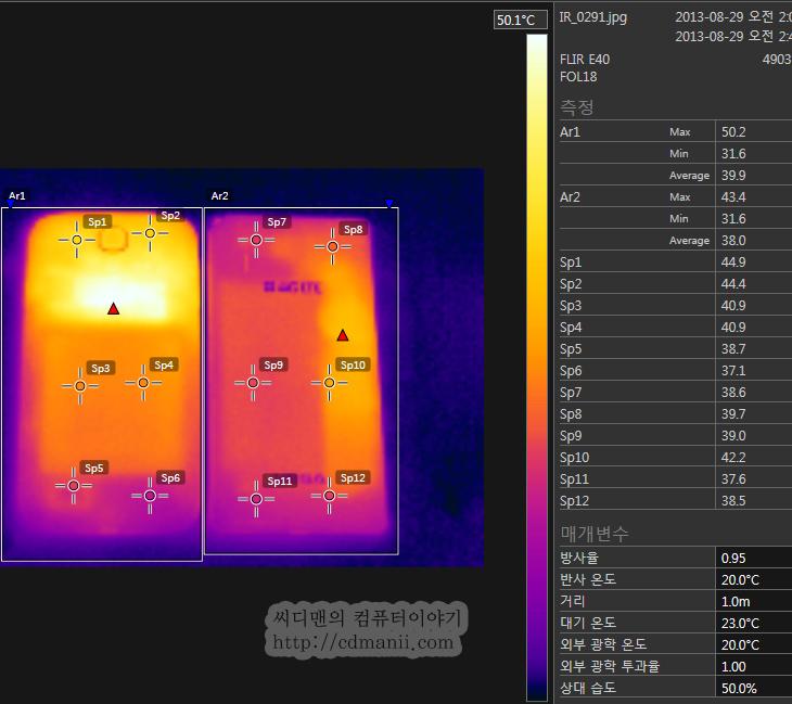 베가 LTE-A 발열, 베가LTE-A, 베가 LTE-A, 갤럭시S4, 베가 아이언, 발열비교, 스마트폰 발열 비교, E40, FLIR E40, TES-1384, 비접촉식 온도계, IT, 리뷰, 후기, 사용기, 베가 LTE-A 발열을 측정해보기로 합니다. 열화상사진을 위해서 FLIR E40을 이용했습니다. 비교대상으로는 갤4와 베가아이언을 놓고 비교를 해봤습니다. 측정하기로는 베가 LTE-A 발열이 좀 있긴 하네요. 물론 스마트폰의 성능이 올라가면 발열은 무조건 있을 수 밖에 없긴 합니다. 절대적인 측정치가 아닌 어느정도의 오차를 감안한 상대값으로 봐주셨으면 합니다. 물론 가능하면 공정하게 테스트를 하려고 노력 했습니다. 그전에는 Fluke 62 MAX+로 측정을 했었는데 물론 접촉식 온도계도 마찬가지이긴 하지만 정확히 어느 부분의 온도가 높은지 찾아내기가 쉽지는 않죠. 열화상사진을 이용하면 열이 나타나는 부분을 사진으로 볼 수 있어서 보기가 수월해집니다. 그럼 실제로 테스트를 해보죠.