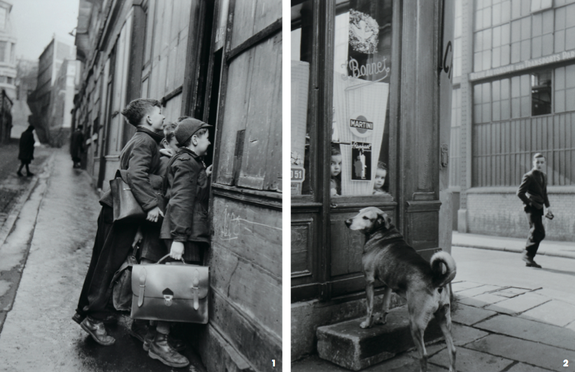 1.'호기심많은어린이들 (The Curious Children)', gelatin silver print, 40×30cm, 1953 2.'카페보네의작은아씨들 (Little girls of the Cafe Bonnet)', gelatin silver print, 40×30cm, 1953