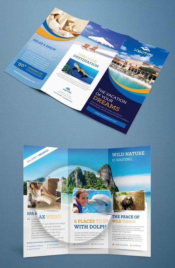 여행 상품 3단 브로셔 PSD 템플릿 - Free PSD Travel Tri Fold Brochure Template