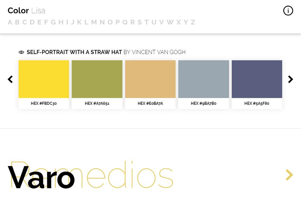 유명 화가들의 예술작품에서 추출하는 어울리는 색조합 사이트 Color Lisa_vincent van gogh_빈센트 반 고흐_밀집모자를 쓴 자화_SELF-PORTRAIT WITH A STRAW HAT