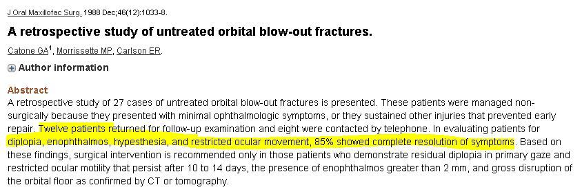 A retrospective study of untreated orbital blow-out fractures.
