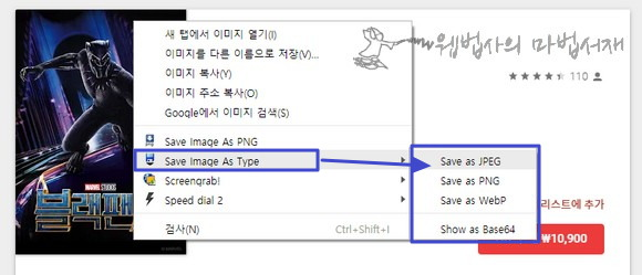 컨텍스트 메뉴의 Save Image As Type