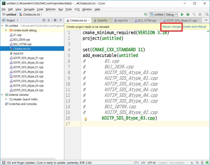 IDE] 윈도우에서 gcc 컴파일 환경 구축하기 - JetBrains CLion
