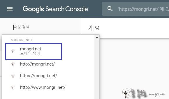 구글 서치 콘솔에 등록된 도메인 속성