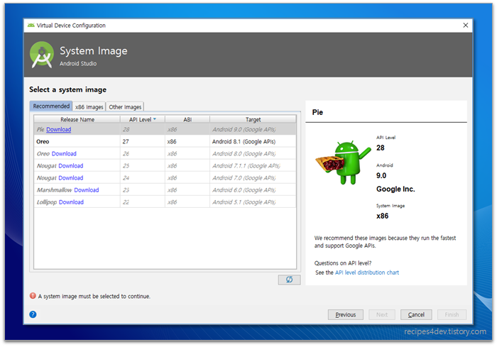 AVD Manager - Select a system image