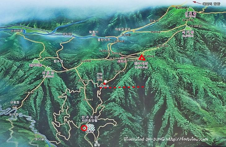 민주지산 등산지도