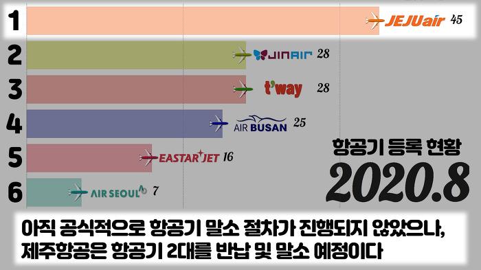 2010~2020.8 저비용항공사(LCC) 비행기 보유대수 변화와 경향