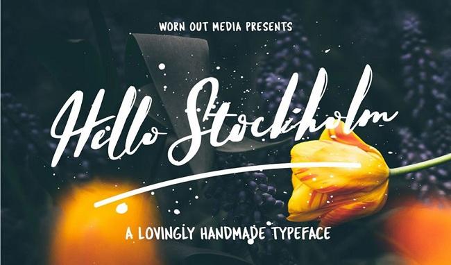 캘리그라피 폰트 - Hello Stockholm Typeface