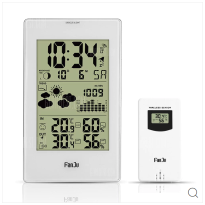 ▲FanJu FJ3352 Weather Station 10-in-1 Functions with Barometer/Temperature/HumidityAtomic Clock/Moon Phase