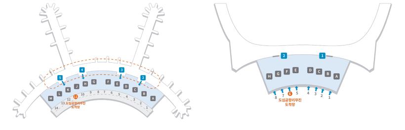 인천국제공항 제1여객터미널(좌)과 제2여객터미널(우)의 전용 출구 위치