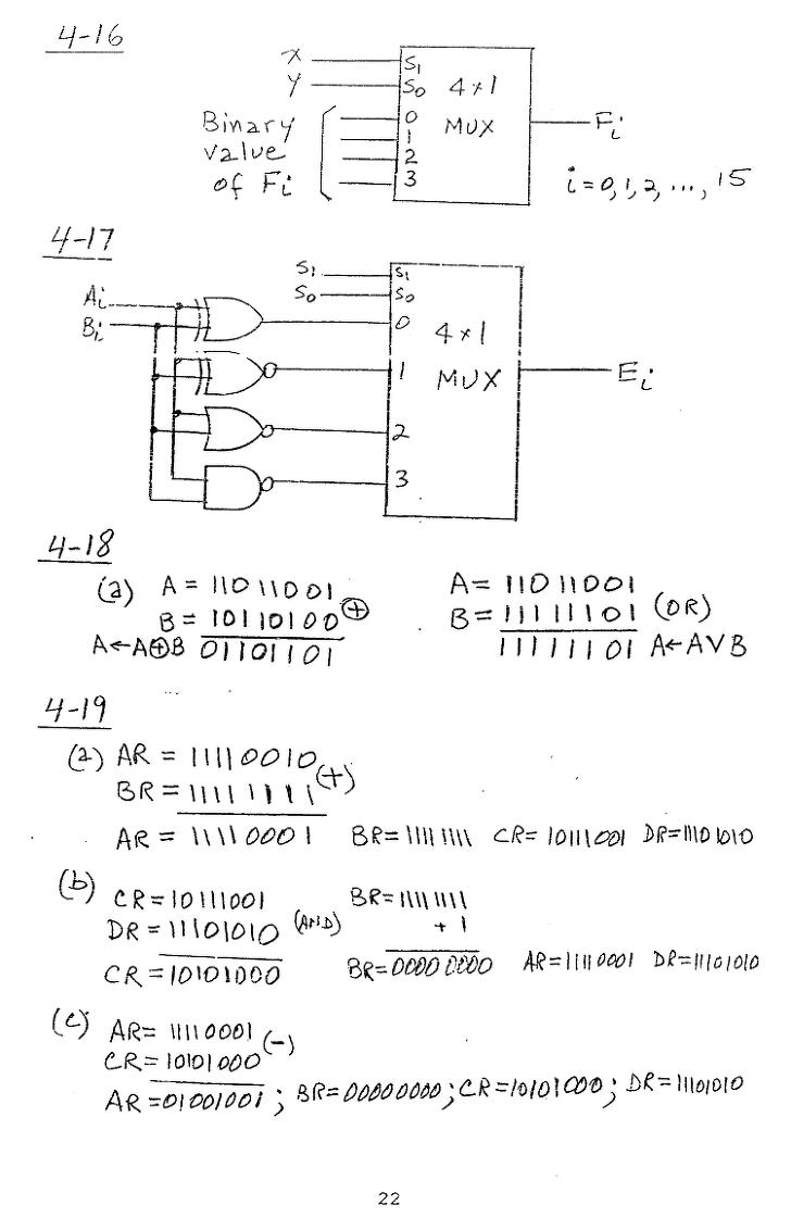 컴퓨터구조 연습문제, 모리스 마노 챕터4 22