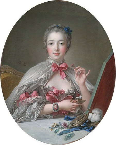 18세기 여성 납 화장 Madame de Pompadour at her Toilette Lead makeup