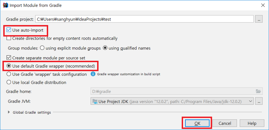 Intellij gradle import