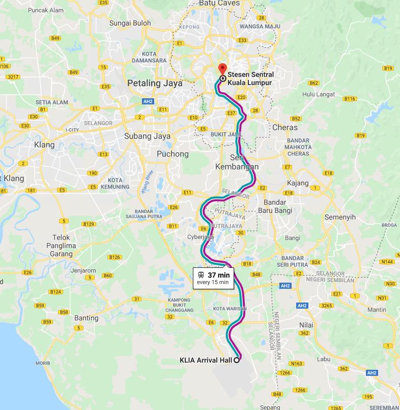 위 지도는 쿠알라룸푸르 국제공항과 KL센트럴까지의 거리를 표시한 것이다.
