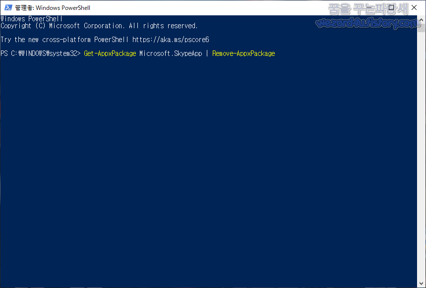Get-AppxPackage Microsoft.SkypeApp _ Remove-AppxPackage