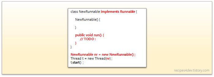 Runnable 인터페이스를 구현(implements Runnable)하여 스레드를 생성하는 코드