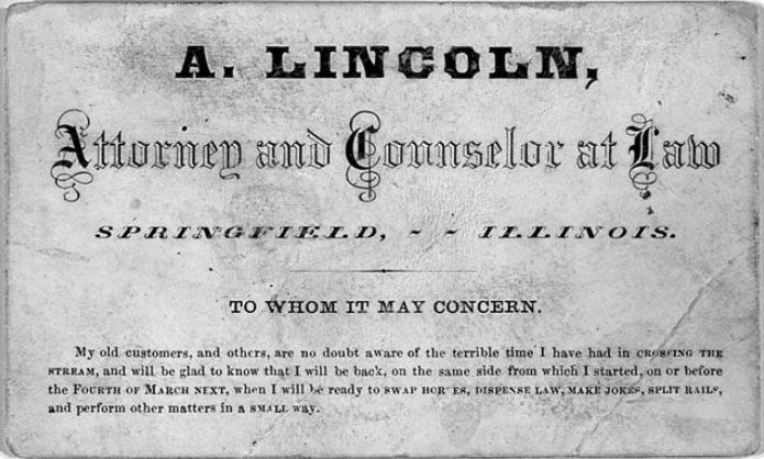 아브라함 링컨(Abraham Lincoln) 명함
