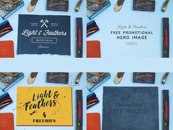 Light & Feather: 4 Free MockUps