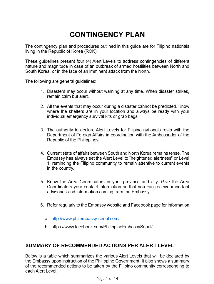 Contingency Plan of Philippine Embassy in Seoul