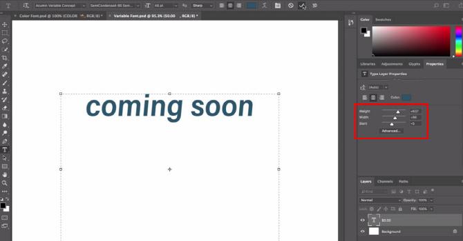 포토샵 CC, 가변글꼴(Variable font) 기능 추가