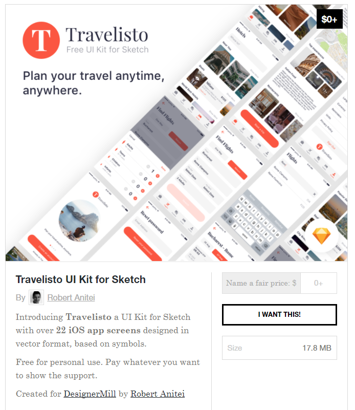 무료 여행관련 Travel Ui Kit Sketchapp